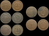 TWO CENT PIECE 2C LOT OF 5 1864 AND 1865 ONE WITH ROTATED DI