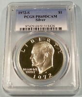 1972-S PCGS PR69DCAM SILVER EISENHOWER DOLLAR PROOF DEEP CAMEO $1