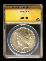 1922-S  ANACS CERTIFIED PEACE DOLLAR AU 58  4780288