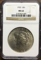 1922 PEACE DOLLAR NGC CERTIFIED MINT STATE 62