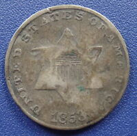 1853 THREE CENT SILVER TYPE 1 - GOOD DETAILS SLIGHTLY BENT