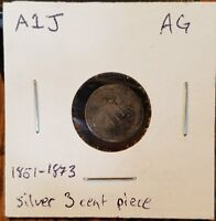 1856 US SILVER THREE CENT PIECE 3C COIN