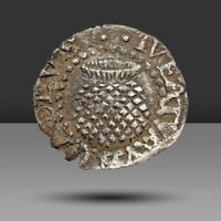 ENGLAND. JAMES I HAMMERED SILVER PENNY ROSE AND THISTLE