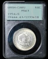 1954-S WASH-CARV  COMMEMORATIVE PCGS OLD RATTLER HOLDER MINT STATE 63