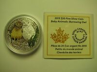 2015 PROOF $20 BABY ANIMALS 3 BURROWING OWL COIN&COA ONLY CANADA .9999 SILVER T