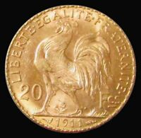1911 GOLD FRANCE 20 FRANCS 6.4516 GRAMS ROOSTER COIN