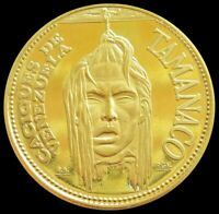 1957 GOLD 9 GRAM TAMANACO CACIQUES INDIAN SEVERED HEAD COIN