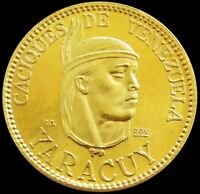 1957 GOLD 6 GRAMS YARACUY CACIQUES INDIAN OF VENEZUELA MINT