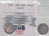 1884 COIN MART VF20 5 CENTS NEAR 4 CANADA FIVE HALF DIME SILVER FISHSCALE