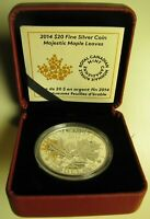 2014 PROOF $20 OVERLAID MAJESTIC MAPLE LEAVES 1 CANADA .9999 SILVER TWENTY