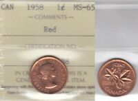 1958 ICCS MS65 1 CENT RED CANADA ONE PENNY