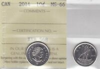 2014 ICCS MS66 10 CENTS CANADA  TEN DIME