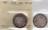 1935 ICCS VF30 25 CENTS CANADA TWENTY FIVE QUARTER SILVER