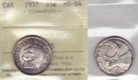 1937 ICCS MS64 25 CENTS CANADA TWENTY FIVE QUARTER SILVER TONED