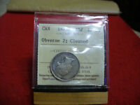 1872 H  CANADA  SILVER QUARTER DOLLAR  COIN   I.C.C.S. GRADED EF 40   CLEANED