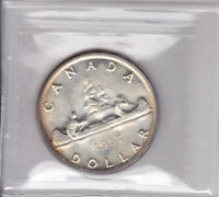 1957 ICCS MS64 $1 1 WATERLINE WL CANADA ONE DOLLAR SILVER