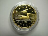 1987 2002 PROOF $1 CENTRE ICE GOING FOR GOLD PLATED LOONIE CANADA COIN ONLY ONE