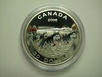 2006 PROOF $30 DOG SLED TEAM COLOUR CANADA .925 SILVER COIN ONLY THIRTY DOLLARS