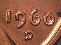 1960 D 1MM 126 LINCOLN CENT REPUNCHED MINT MARK