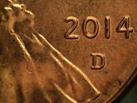 2014 D STRUCK THROUGH LINCOLN CENT
