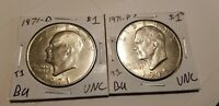 1971 P&D IKE EISENHOWER DOLLAR 2 COINS UNC  SHIPS FREE