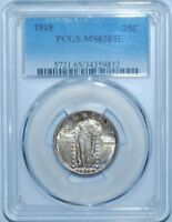 1918 PCGS MINT STATE 65FH FULL HEAD STANDING LIBERTY QUARTER 25C