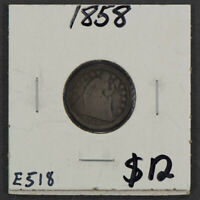 1858 10C SEATED LIBERTY DIME LOTE518