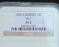 1805 10C 4 BERRIES DRAPED BUST DIME JR-2 NGC FA 2 NO QUALIFIERS - NO PROBLEMS