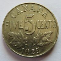 1925 CANADA 5 CENTS CANADIAN BETTER DATE NICKEL 5C COIN   10