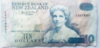 RESERVE BANK OF NEW ZEALAND $10 PRE POLYMER BANKNOTE KATE SH