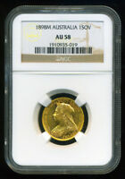 AUSTRALIA 1898 M GOLD COIN VEILED VICTORIA SOVEREIGN   NGC C