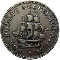 1830 LOWER CANADA HALF PENNY TOKEN SAILING SHIP BRETON 533