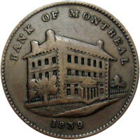 1839 BANK OF MONTREAL LOWER CANADA SIDE VIEW HALF PENNY TOKEN BRETON 524