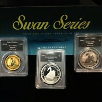 2017 AUSTRALIA SWAN 3 COIN SET GOLD AND SILVER PROOF/BU PCGS