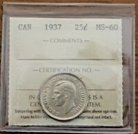 1937 CANADA 25 CENTS   ICCS MS 60