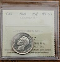 1940 CANADA 25 CENTS   ICCS MS 63