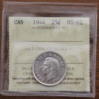 1944 CANADA 25 CENTS   ICCS MS 62