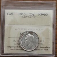 1945 CANADA 25 CENTS   ICCS MS 60
