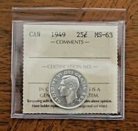 1949 CANADA 25 CENTS   ICCS MS 63