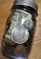VINTAGE SEALED US COIN COLLECTION JAR SILVER DOLLARS & CURRE