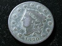 1820 LARGE CENT  SMALL DATE VARIETY  CORONET HEAD  SHIPS FREE