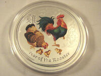2017  COLORED 2 OZ SILVER YEAR OF ROOSTER LUNAR COIN PERTH M
