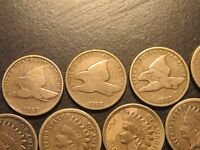 1857-1864 INDIAN HEADS9 COINS ALL CN                                     A-3