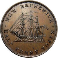 1843 NEW BRUNSWICK CANADA HALF PENNY TOKEN SAILING SHIP BRETON 910