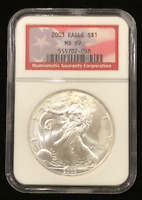 2003 NGC CERTIFIED MINT STATE 69   RED FLAG LABEL  .999 AMERICAN SILVER EAGLE