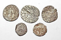 ENGLAND. LOT OF 5 HAMMERED SILVER COINS OF ELIZABETH I AND C