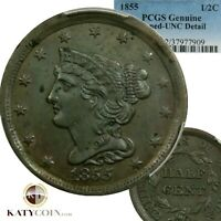 1855 PCGS UNC DETAIL BRAIDED HAIR HALF CENT 1/2 COPPER US COIN ITEM 20077A
