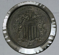ORIGINAL 1867 SHIELD NICKEL - ALMOST UNCIRCULATED CONDITION