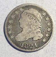 1821 10C CAPPED BUST SILVER DIME