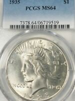 1935 1$  PEACE SILVER DOLLAR  PCGS MINT STATE 64              18-01218